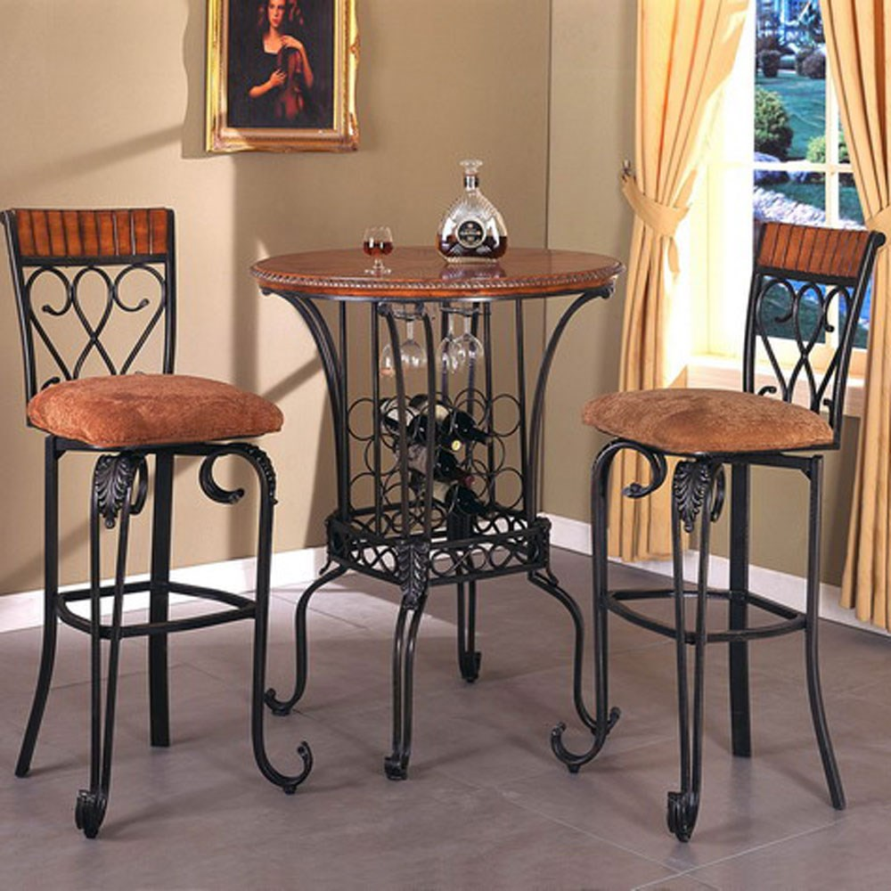 Crown Mark Alyssa Three Piece Round Pub Table and Upholstered Seat Bar Stool Set