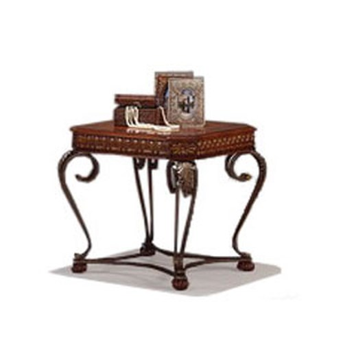 Crown Mark Clairmont Rectangular Wood and Metal End Table with Cabriole Legs