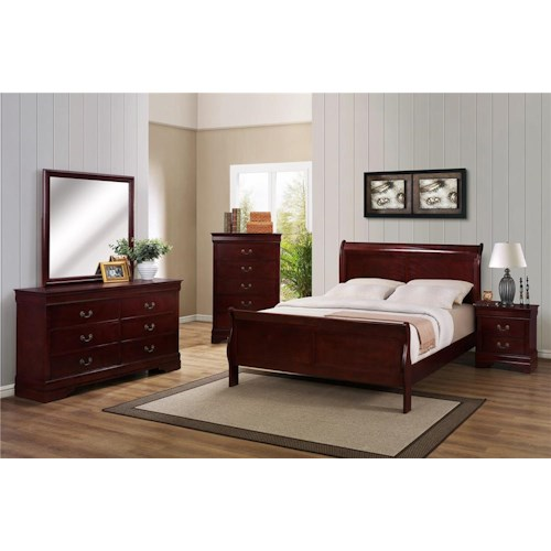 CM B3800 Louis Phillipe 4 pc Bedroom Set.