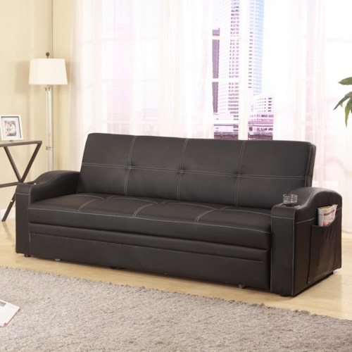 Crown Mark 5310 Easton Adjustable Sofa with Cup Holders and Pull-Out Bed