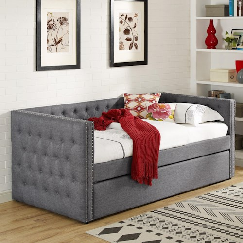 Crown Mark 5335 Grey Upholstered Daybed with Button Tufting