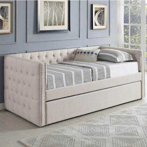 Crown Mark 5335 Ivory Upholstered Daybed with Button Tufting and Pull-Out Trundle Bed