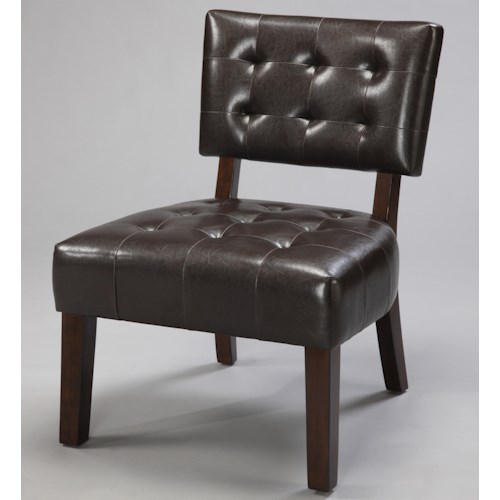Crown Mark Beverly Upholstered Beverly Accent Chair with Exposed Wood & Tufted Back