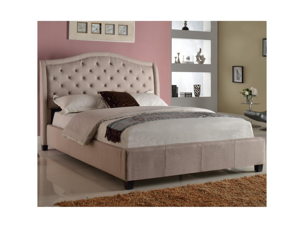 Crown Mark Addison Upholstered Queen Bed with Tufted Headboard | Del ...