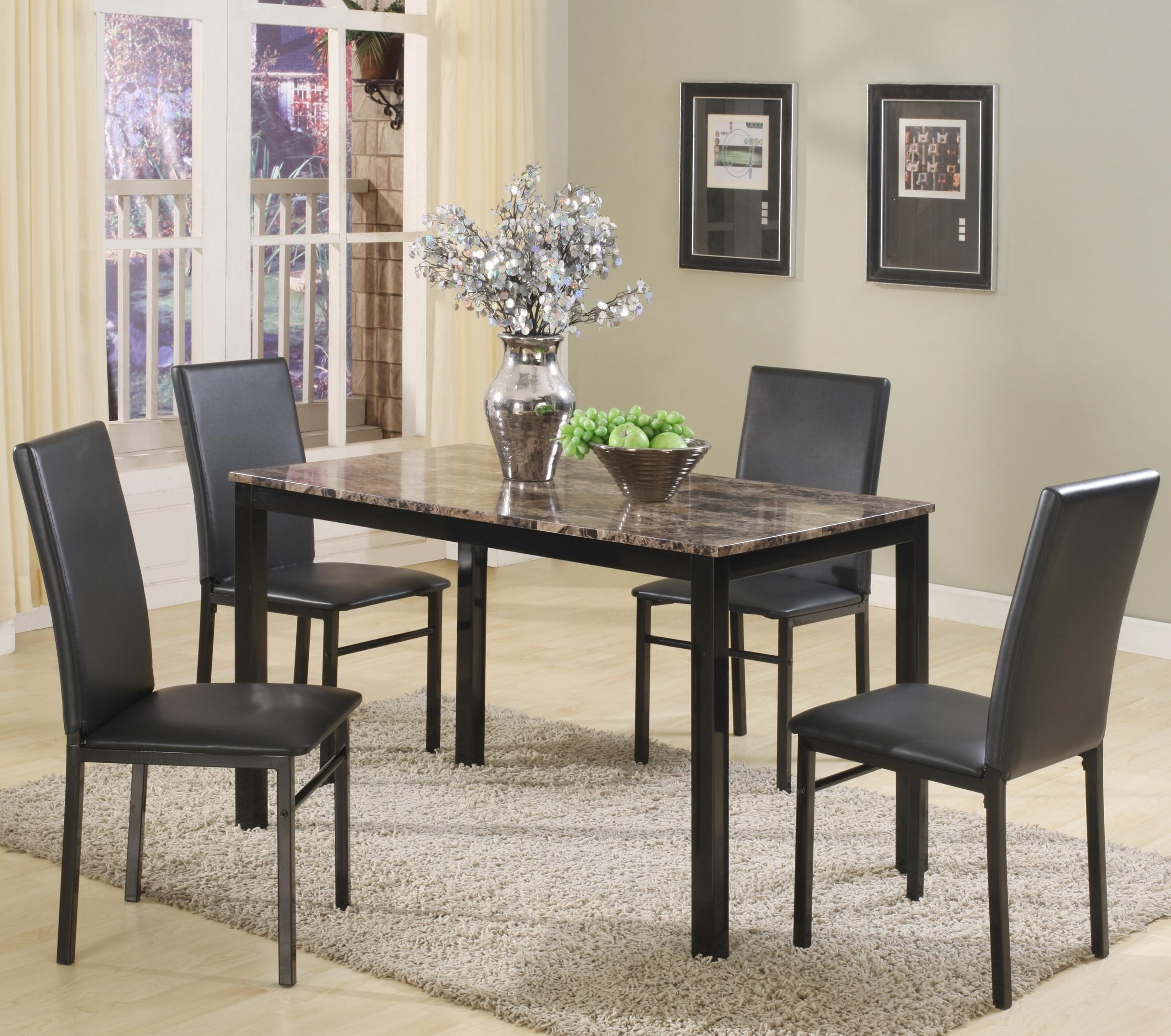 5 Piece Rectangular Table and Upholstered Parson Side Chairs Set