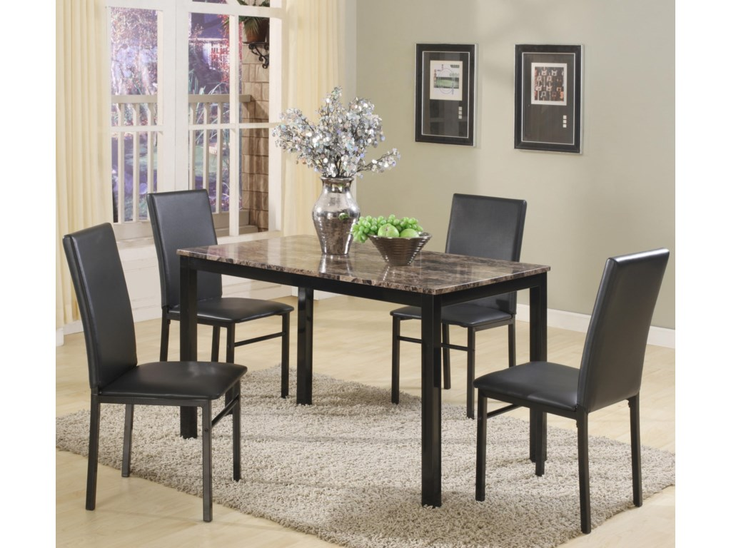Crown Mark Aiden 1217set 5 Piece Rectangular Table And Upholstered