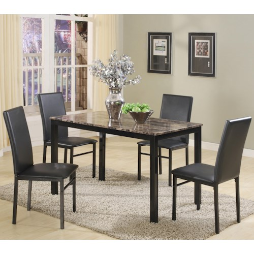 Crown Mark Aiden 5 Piece Rectangular Table and Upholstered Parson Side Chairs Set