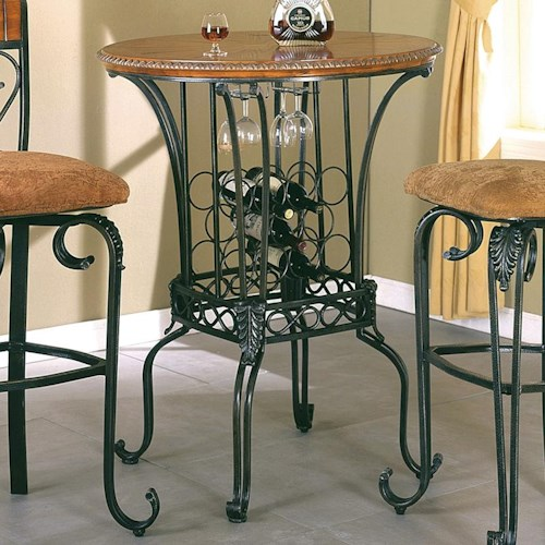 Crown Mark Alyssa Bar Table Round With Wine Storage Lindys - Alyssa dining room set