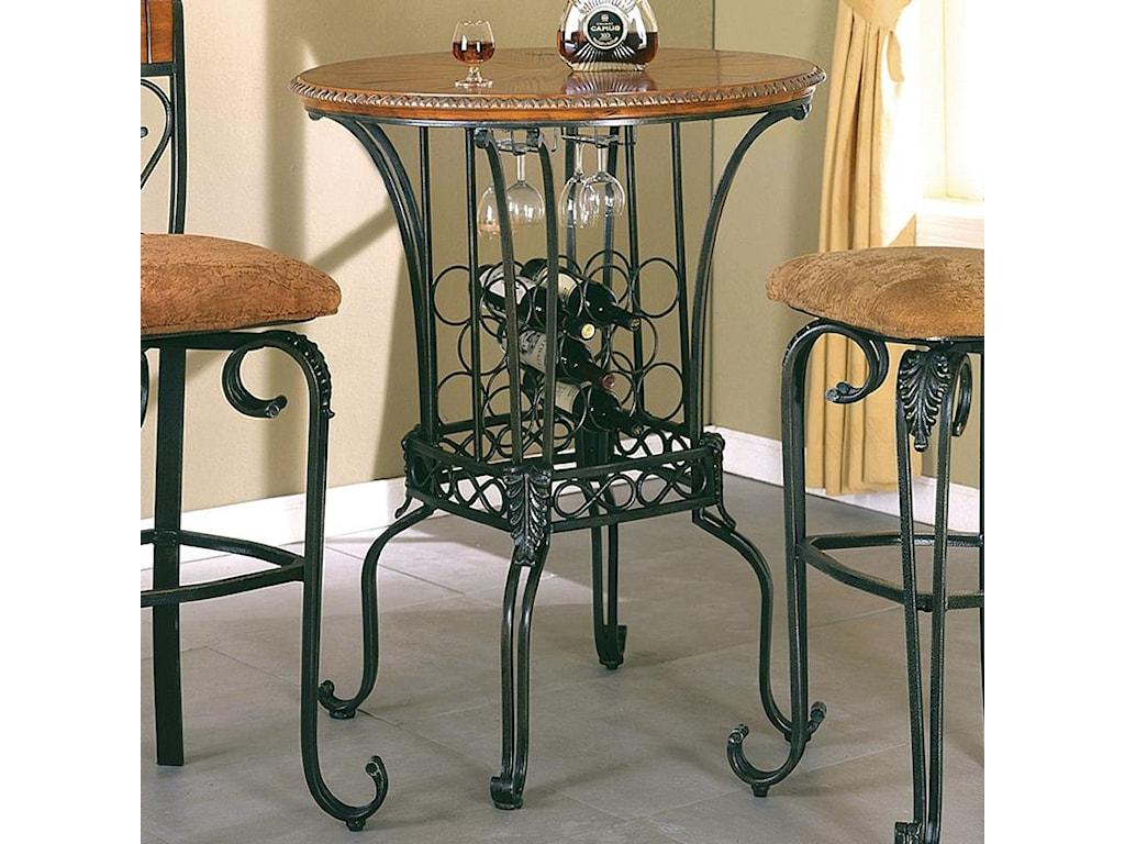 crown mark alyssa bar table 35 round with wine storage royal
