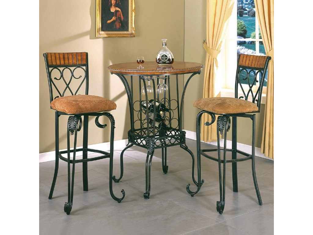 Crown Mark Alyssa Bar Table Round With Wine Storage Del Sol - Alyssa dining room set