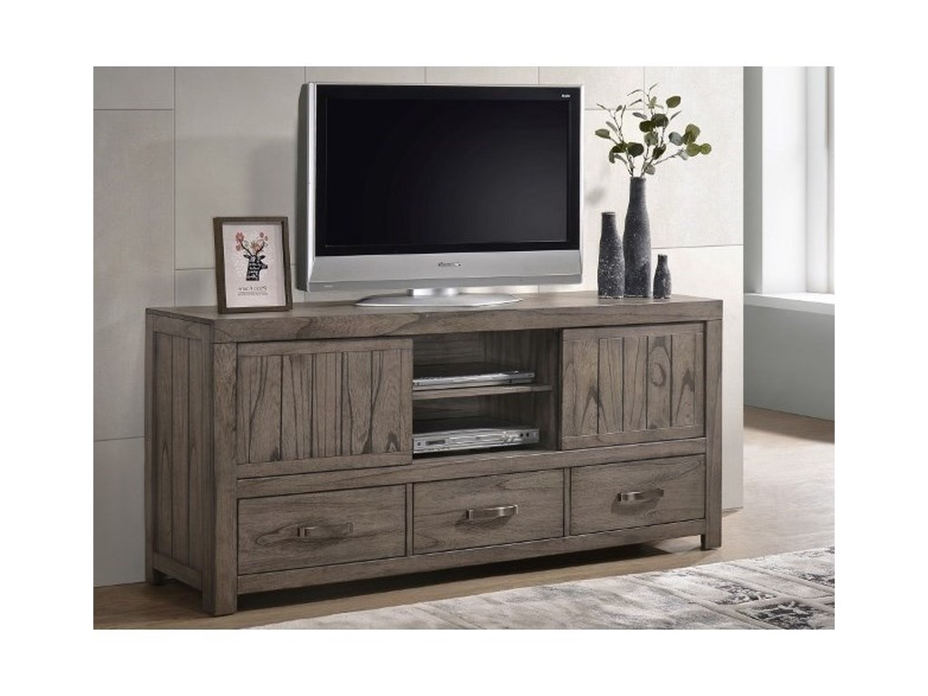 Crown Mark Arcadia Rustic Tv Stand With 3 Drawers