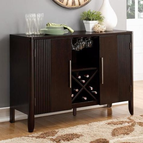 Crown Mark Ariana Espresso Dining Side Board with Built In Wine Bottle Storage