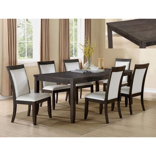 Crown Mark Ariana 7 Piece Table and Chair Set with White Upholstered Chairs