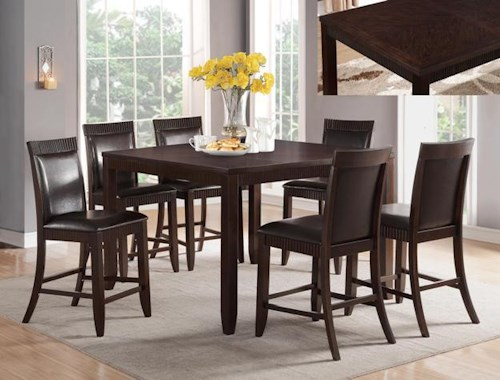 Crown Mark Ariana Espresso 7 Piece Counter Height Set with Upholstered Chairs