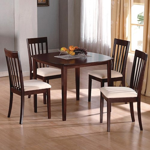 Crown Mark Ashland 5 Piece Kitchen Table and Upholstered Chairs Set