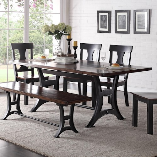 Crown Mark Astor Industrial Dining Table with Trestle Base and Rustic Top