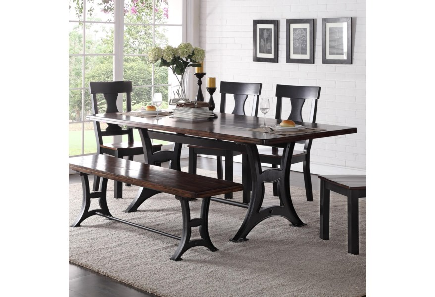 Astor Dining Table With Trestle Base And Rustic Top By Crown Mark At Dunk Bright Furniture