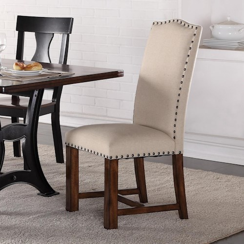 Crown Mark Astor Upholstered Parson Chair With Nailhead Trim