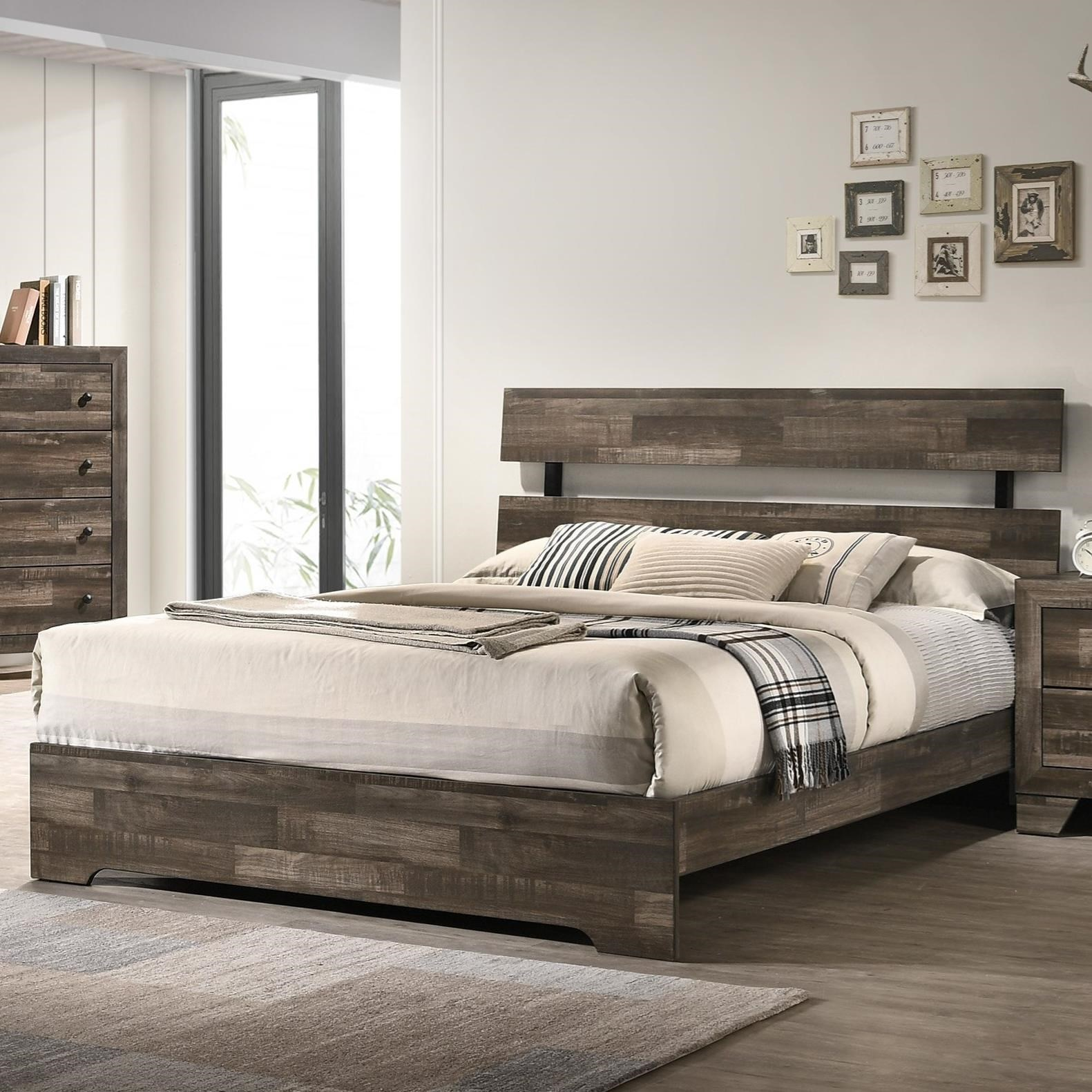 Picture of: Crown Mark Atticus Rustic Queen Bed Royal Furniture Platform Beds Low Profile Beds