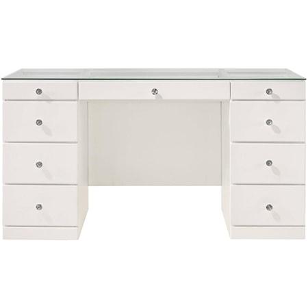 Vanity Desk with Glass Top