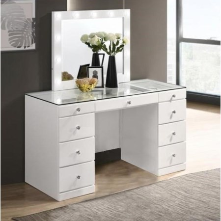 Vanity with Glass Top and LED Mirror