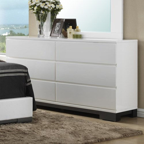 Crown Mark Avery  Contemporary 6 Drawer Dresser Base