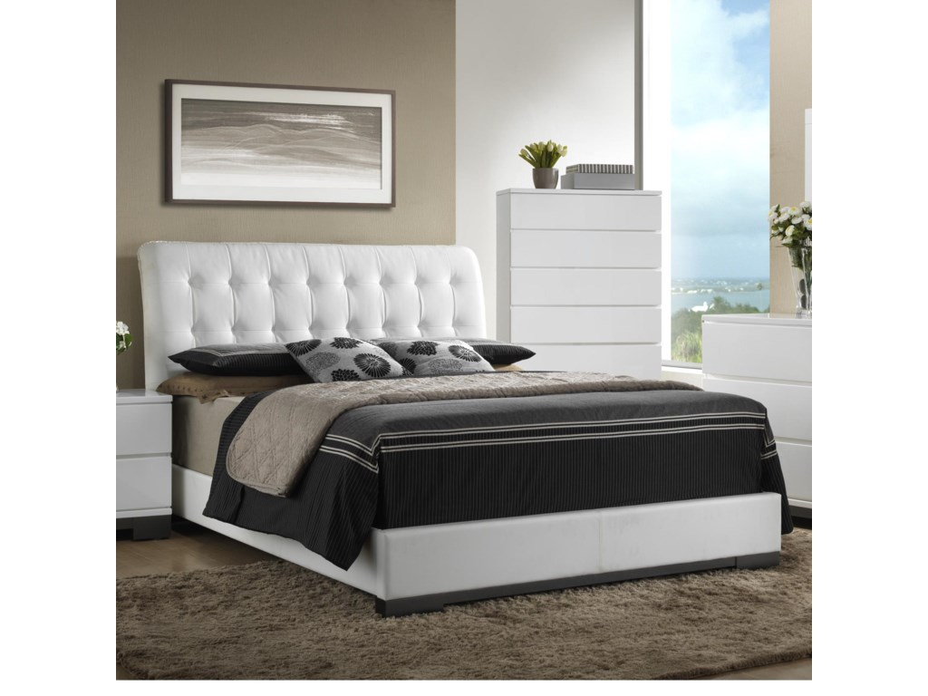 1bfea2c7ef Crown Mark Avery Contemporary Upholstered King Bed with Tufted ...