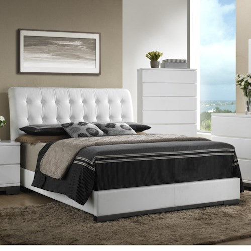 Crown Mark Avery  Contemporary Upholstered Queen Bed with Tufted Heaboard