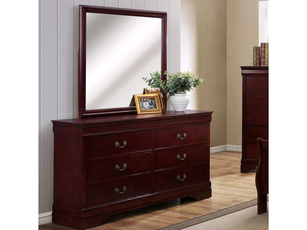 Crown Mark B3800 Louis Phillipe 6 Drawer Dresser With Square Mirror Dunk Bright Furniture