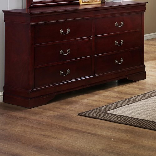 CM B3800 Louis Phillipe 6 Drawer Dresser with Metal Bail Handles and Bracket Feet