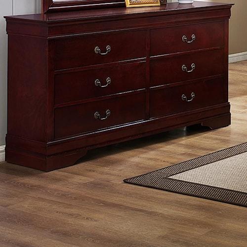 CM B3800 Louis Phillipe 6 Drawer Dresser with Metal Bail Handles and Bracket Feet