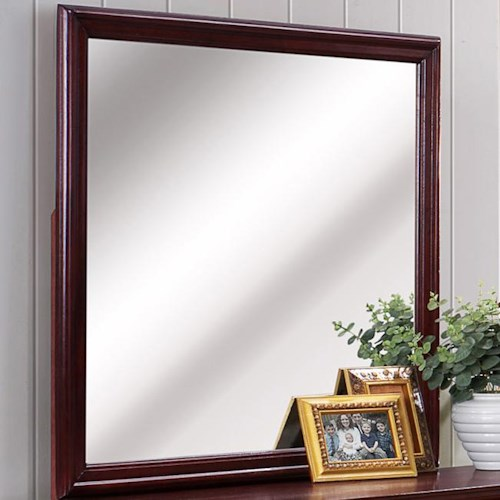 CM B3800 Louis Phillipe Square Dresser Mirror with Cherry Wood Frame