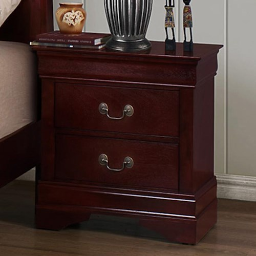 Crown Mark B3800 Louis Phillipe 2 Drawer Nightstand with Metal Bail Handles and Bracket Feet