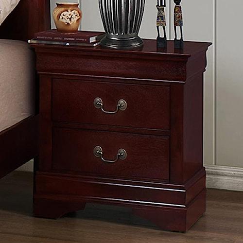 CM B3800 Louis Phillipe 2 Drawer Nightstand with Metal Bail Handles and Bracket Feet