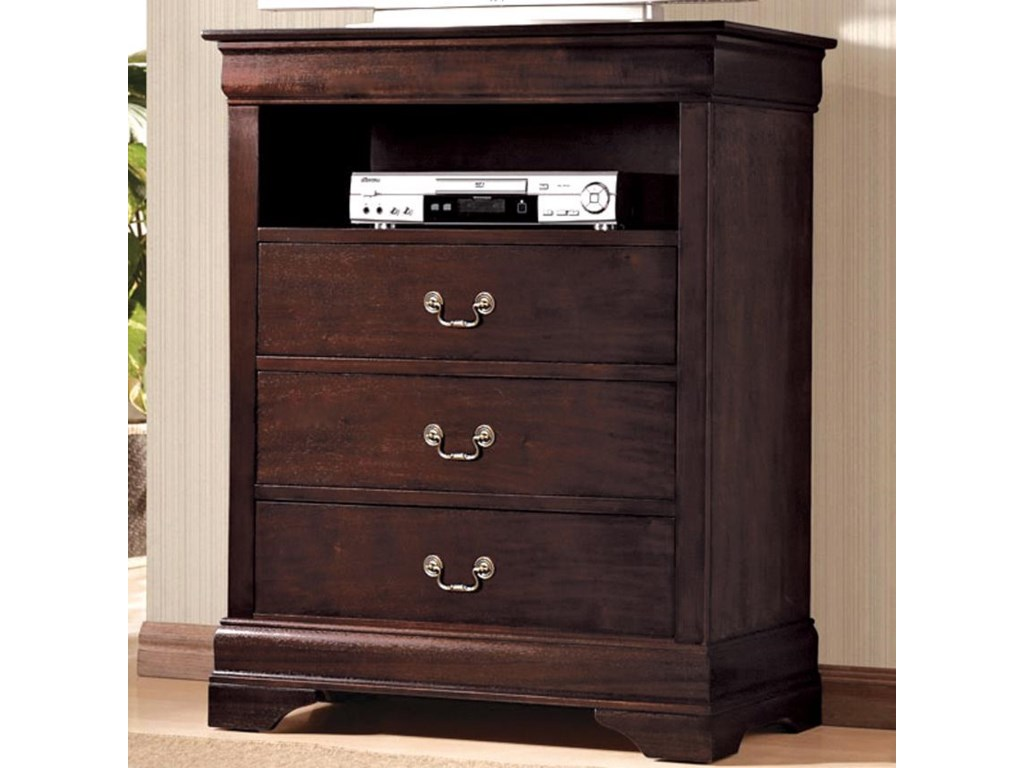 Crown Mark B3800 Louis Phillipe 7 Media Chest With 3 Drawers And 1 Storage Compartment Dunk Bright Furniture
