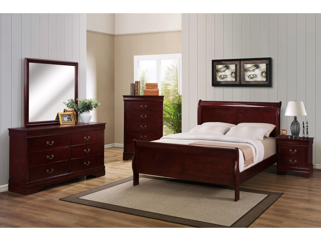 Crown Mark B3800 Louis PhillipeKing Sleigh Bed