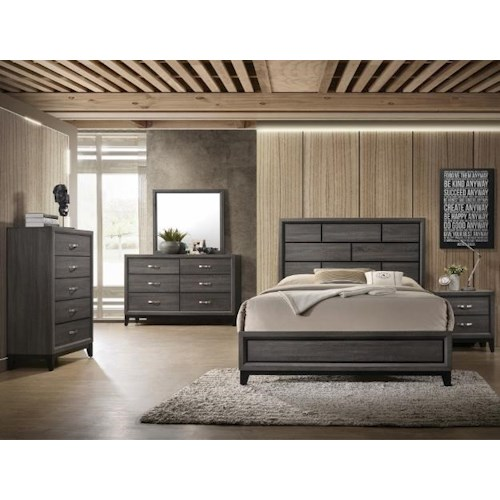 CM B4620 Akerson Grey B4620- 4pc Queen Bedroom Set Akerson Grey