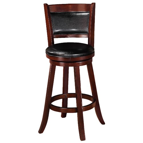 Crown Mark Bar Stools Transitional Upholstered High Swivel Chair