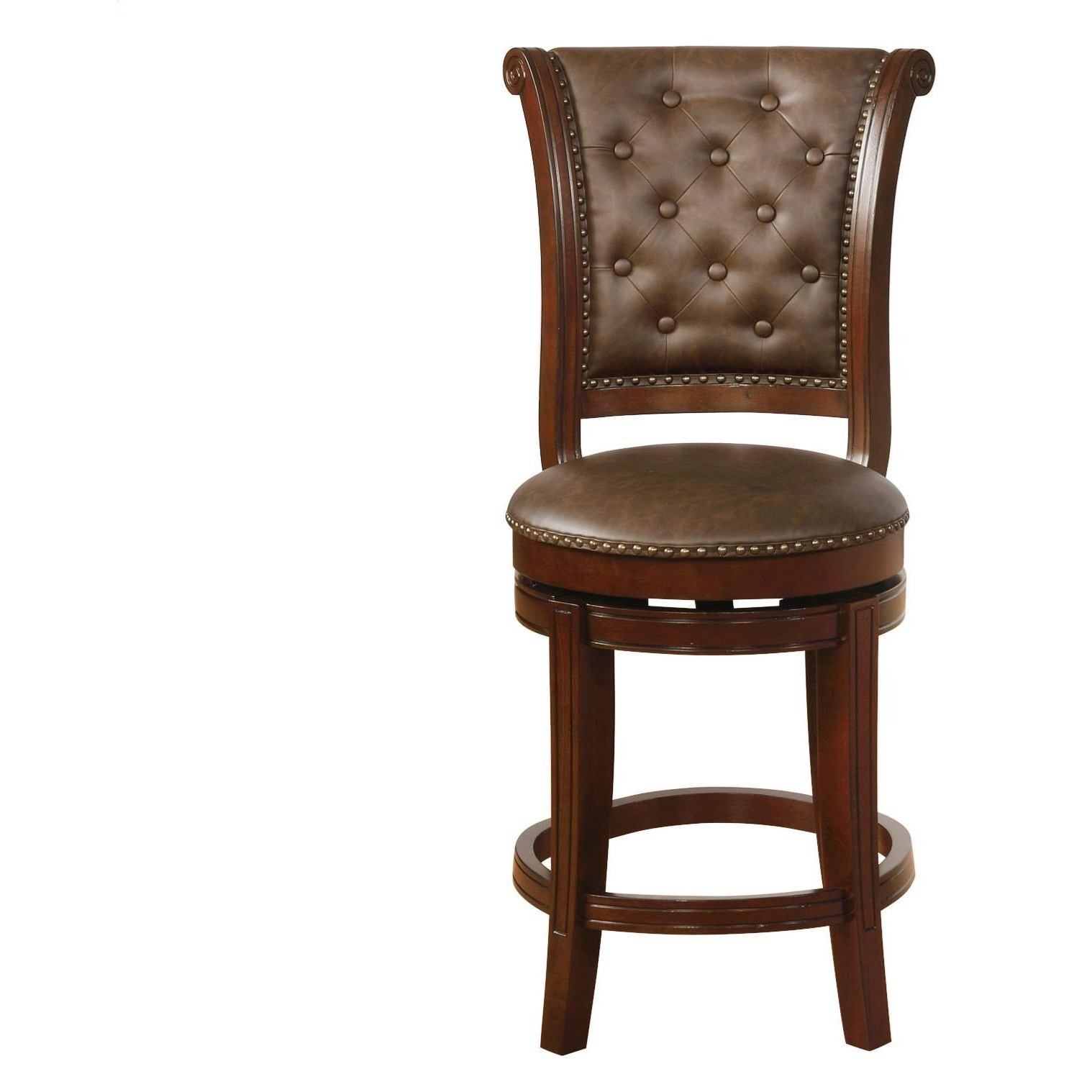 Traditional Swivel Counter Height Bar Stool with Button Tufting