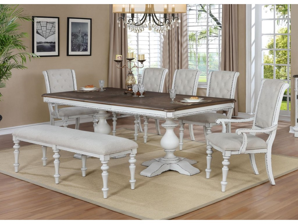 Crown Mark Bardot7 Piece Dining Set with Bench
