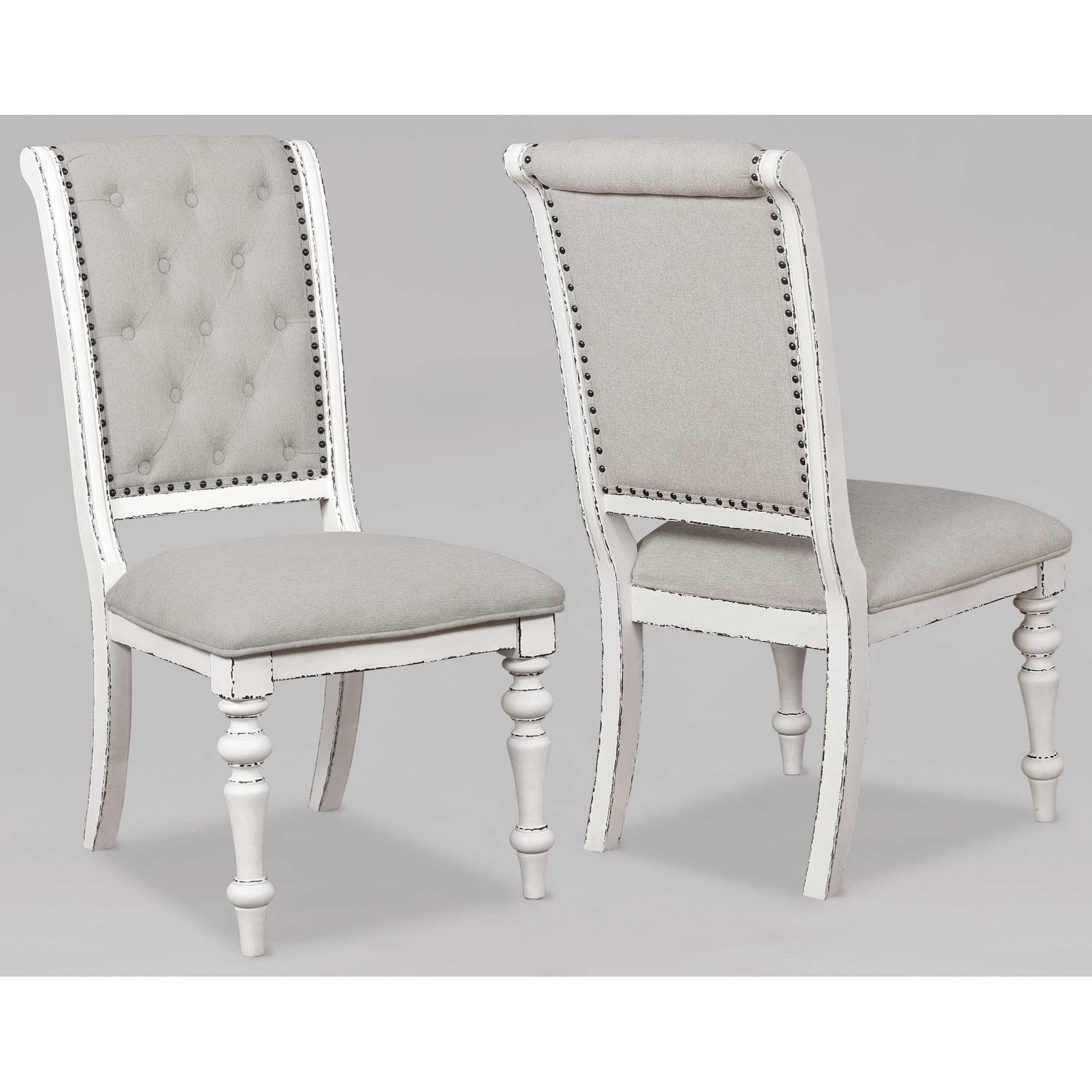 Cottage Dining Side Chair with Button Tufted Upholstery