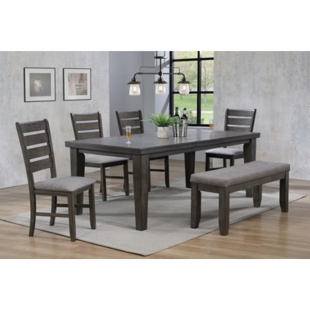 6 Piece Dining Set w/ 4 Chairs & Bench