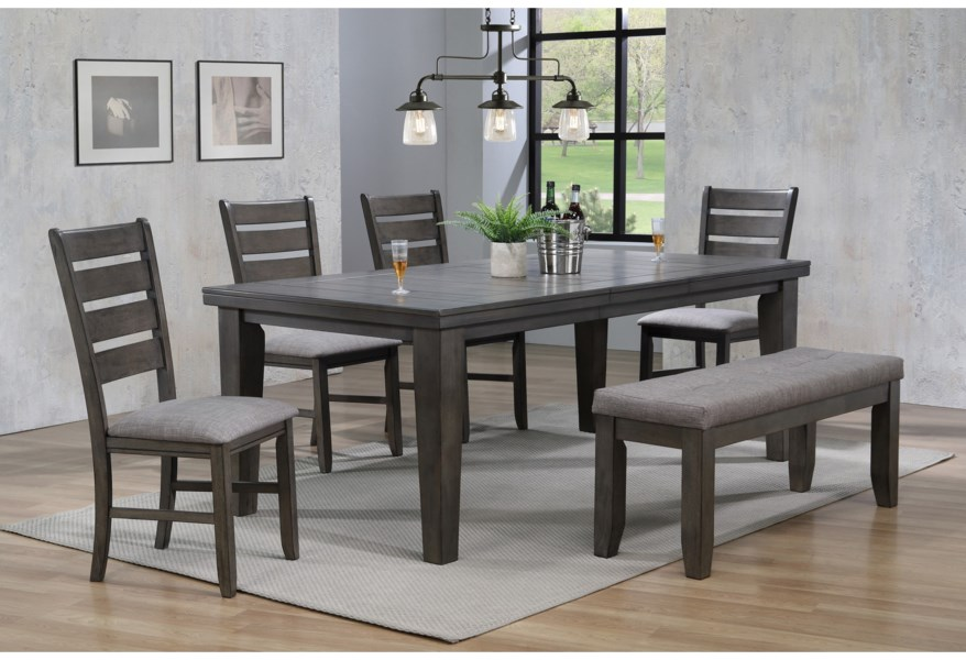 Crown Mark Bardstown 6 Piece Dining Set w/ 4 Chairs & Bench ...