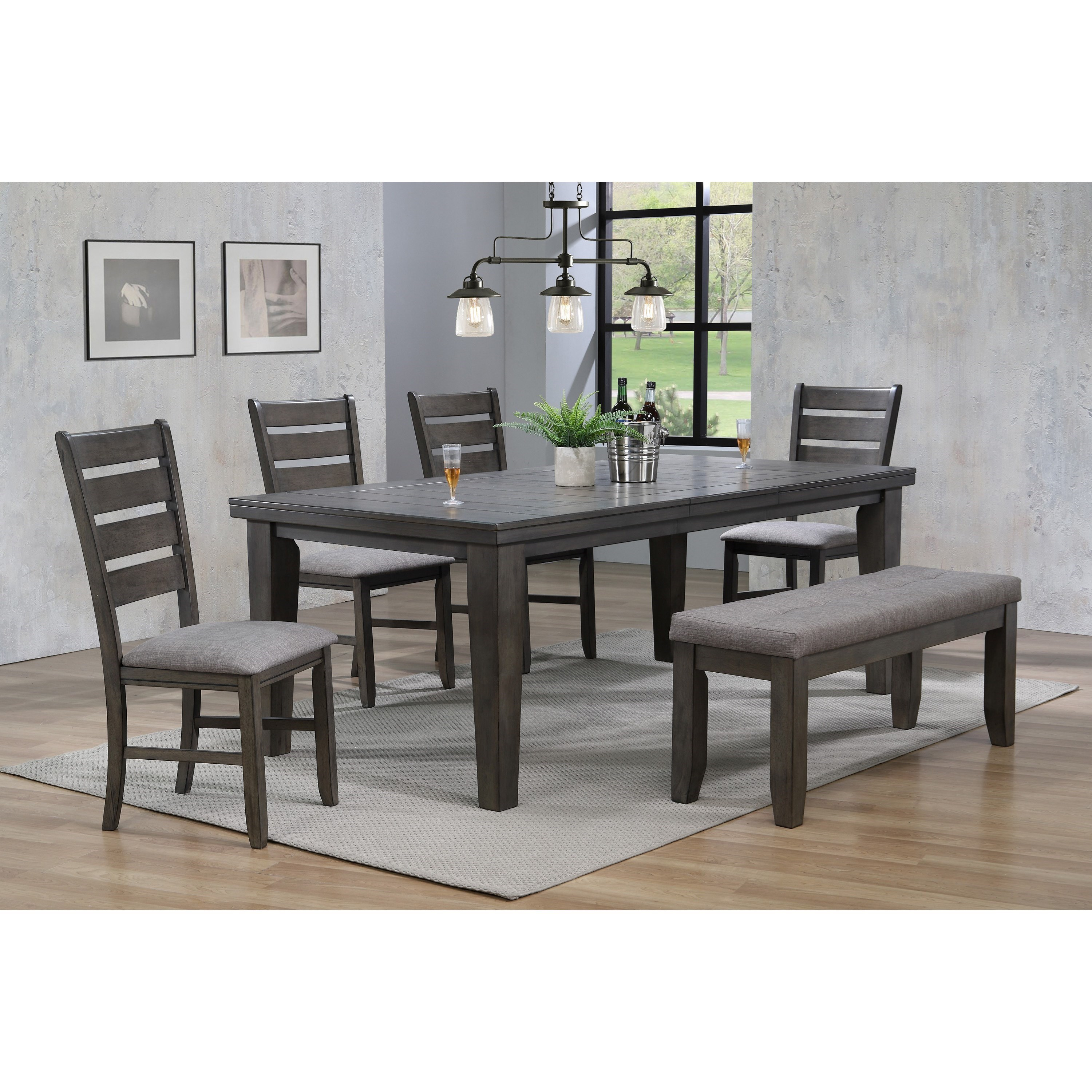Crown Mark Bardstown6 Piece Dining Set W/ 4 Chairs U0026 Bench ...
