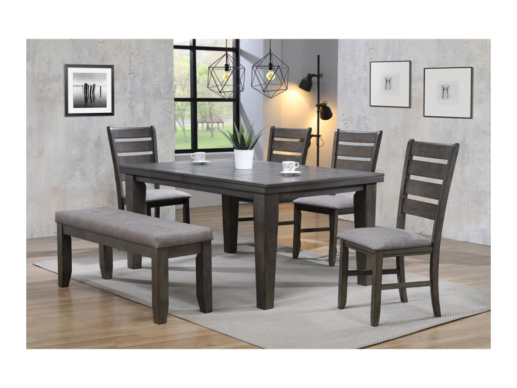 (Up to 50% OFF sale price) Collection # 1 Bardstown6 Piece Dining Set w/ 4 Chairs & Bench
