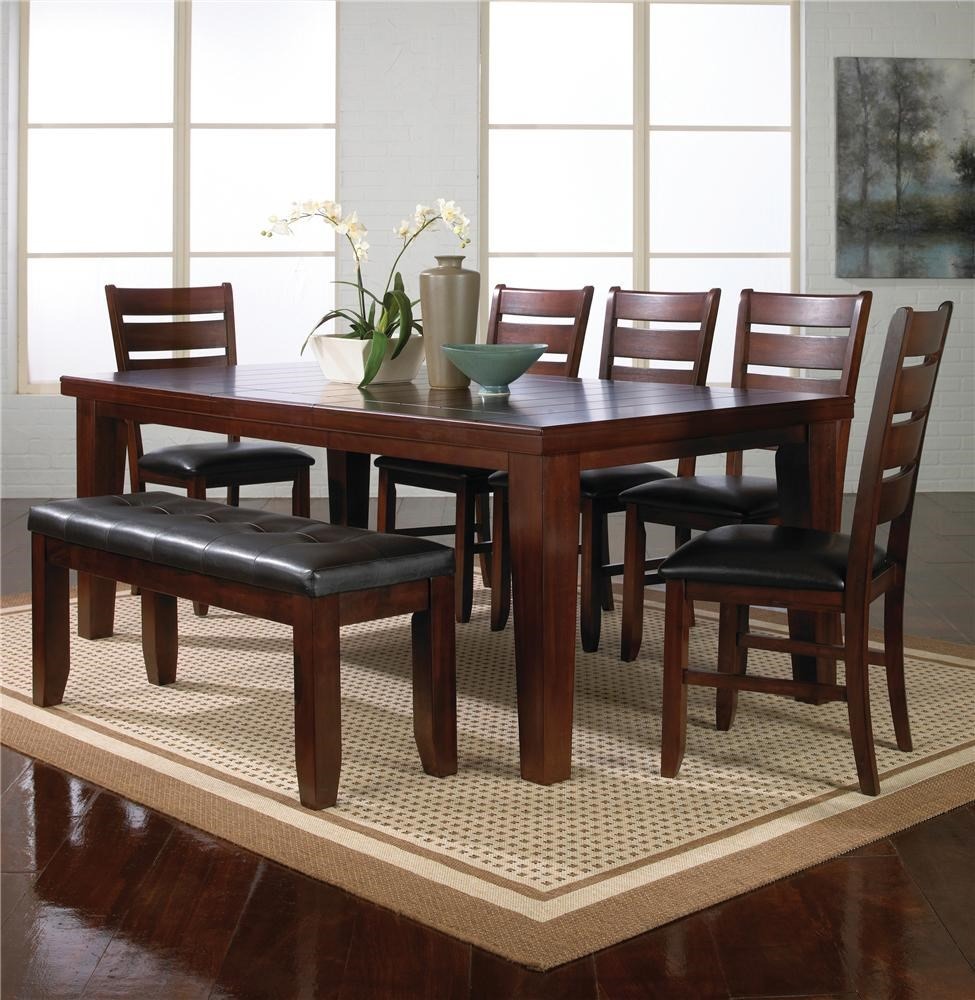 Crown Mark Bardstown 7 Piece Dining Table Set W/ 5 Chairs U0026 1 Bench