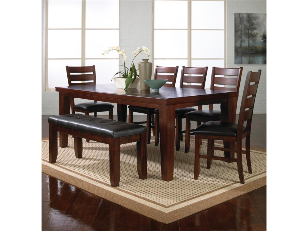 Crown Mark Bardstown7 Piece Table Set w/ 5 Chairs & 1 Bench