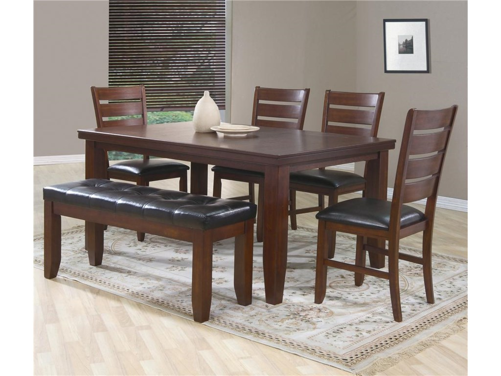 Crown Mark Bardstown6 Piece Dining Set w/ 4 Chairs & Bench