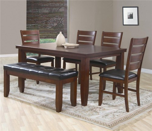 Crown Mark Bardstown 6 Piece Dining Set W 4 Chairs Bench