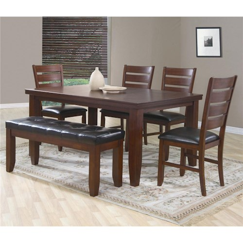Crown Mark Bardstown 6 Piece Dining Set w/ 4 Chairs & Bench